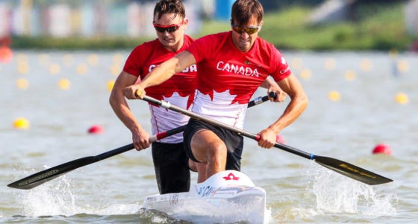 Dartmouth paddler Connor Fitzpatrick, back and Roland Varga will race the C-2 1,000-metre event at the Tokyo Olympics.   - Canoe and Kayak Canada