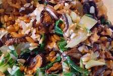 This is food columnist Margaret Prouse's version of Farro with Arugula and Roasted Mushrooms.
