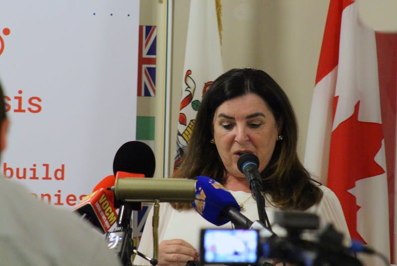 Memorial University president Vianne Timmons speaks to reporters about the Greene Report on Friday at the Railway Coastal Museum in St. John's.  — Andrew Waterman