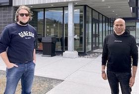 Robert Hoyles (left), vice-president of sales for Polyanyma Nanotech, poses with company co-founder Kishan (Bala) Gorityala in St. John's.