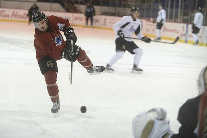 Zac Beauregard, a centre with the Charlottetown Islanders, fires a shot on goal during Wednesday's practice. - Jason Malloy • The Guardian