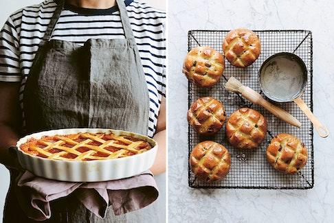Crostata di marmellata, left, and pandiramerino from Emiko Davies' new book, Torta della Nonna.