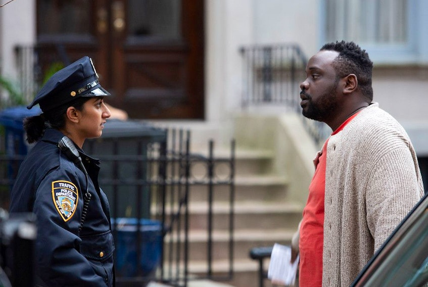 Sunita Mani and Brian Tyree Henry in The Outside Story.
