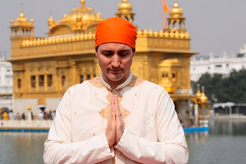 Prime Minister Justin Trudeau at the Golden Temple in Amritsar, India during a visit to the country in February 2018.