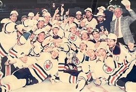 Members of the Cape Breton Oilers are shown after winning the Calder Cup championship on May 30, 1993. It was the team's only championship in Sydney. Today marks the 25th anniversary of the day the Oilers relocated to Hamilton, Ont. CAPE BRETON POST PHOTO