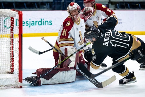 Charlottetown Islanders captain Brett Budgell beats Acadie-Bathurst Titan goalie Jan Bednar Saturday for the first goal of the Maritimes Division final in Shawinigan, Que. – Olivier Croteau