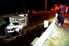 A single-vehicle rollover in Portugal Cove sent two people to hospital Friday night. Keith Gosse/The Telegram