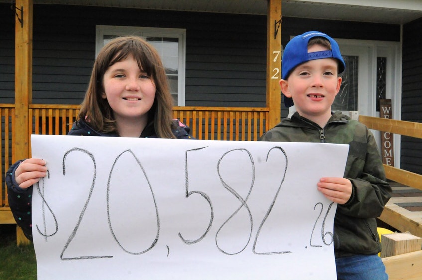Kaylee Andersen and her brother Zander hold up a poster showing $20,582.26 was raised for the purchase of a brand new Hippocampe for their brother (and Zander's twin) Lyndon. — Joe Gibbons/The Telegram