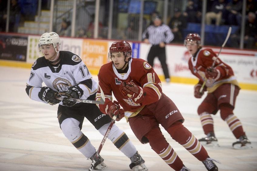 Acadie-Bathurst Titan forward Bennett MacArthur in action at the Eastlink Centre in Charlottetown during the Quebec Major Junior Hockey League's 2019-20 season. - Jason Malloy