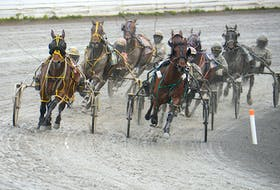 Jus Chillin It, right, with Wade Myers driving leads the pack around the final turn during Race 1 Saturday at Red Shores at the Charlottetown Driving Park during the first card of the spring meet.