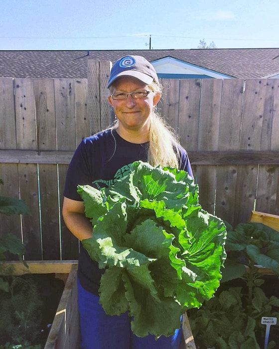 Glace Bay Food Bank garden coordinator Kimberly McPherson with produce from the garden. CONTRIBUTED