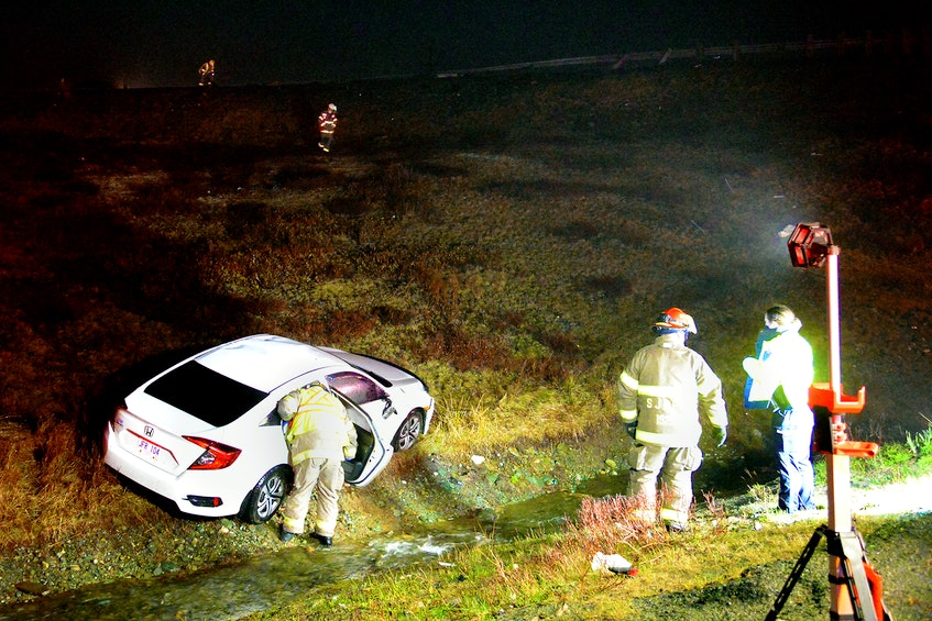 A woman escaped serious injuries during a crash at the Peacekeepers Way/Pitts Memorial cloverleaf Saturday night. Keith Gosse/The Telegram