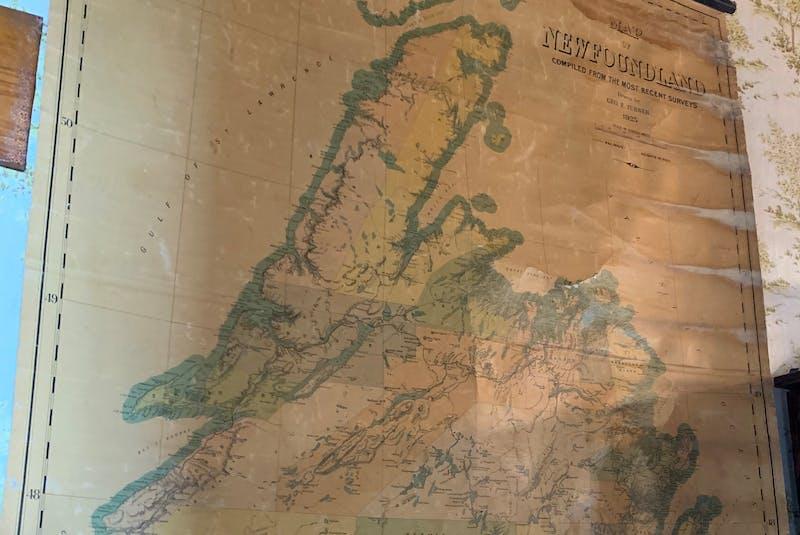 A 1920s map of Newfoundland displayed at Kalmia.  - Barb Sweet