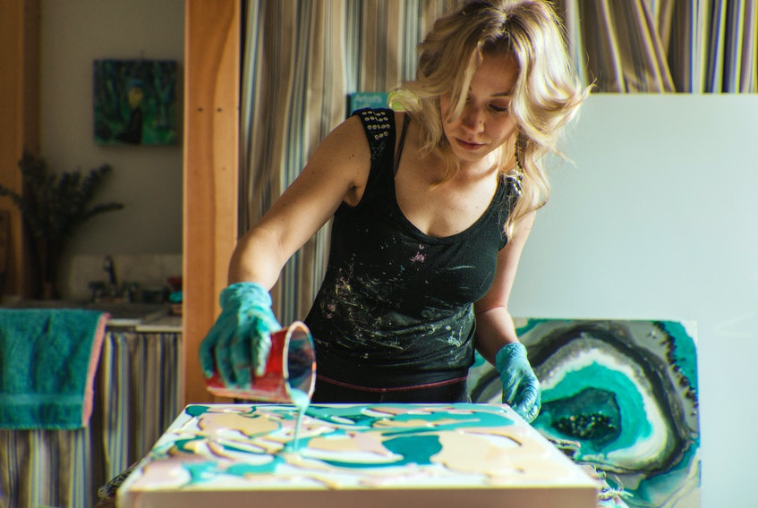 Tantallon artist Kristen Herrington creates a vivid acrylic paint canvas in support of a local Nova Scotia business for her series of #LocalPayItForward artworks.