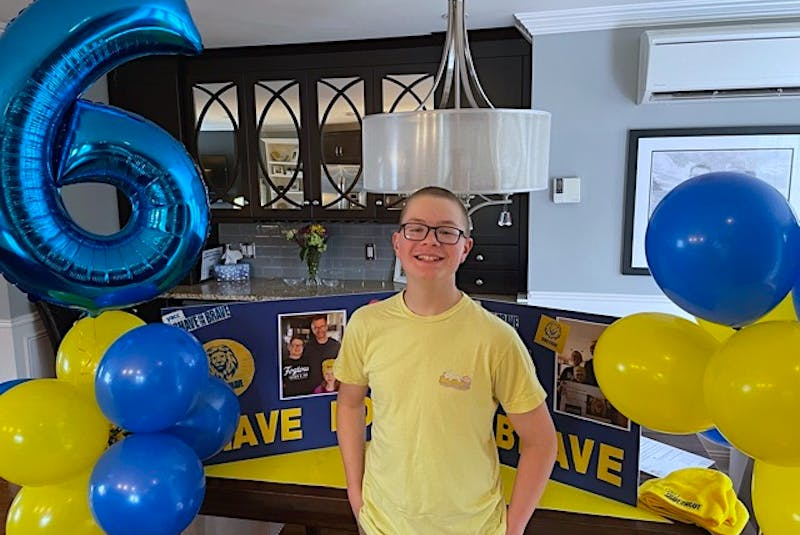 Sam Hull not long after getting his head shaved while friends and family watched on a Zoom call. This year marks his sixth time participating in the Shave for the Brave fundraiser.— Contributed