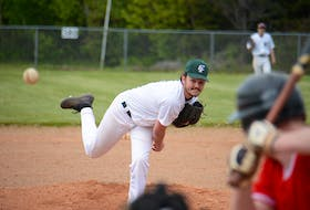 Capital District's Jaron Rashed throws a pitch during the seventh inning of Game 1 of a doubleheader Saturday at Morell.
