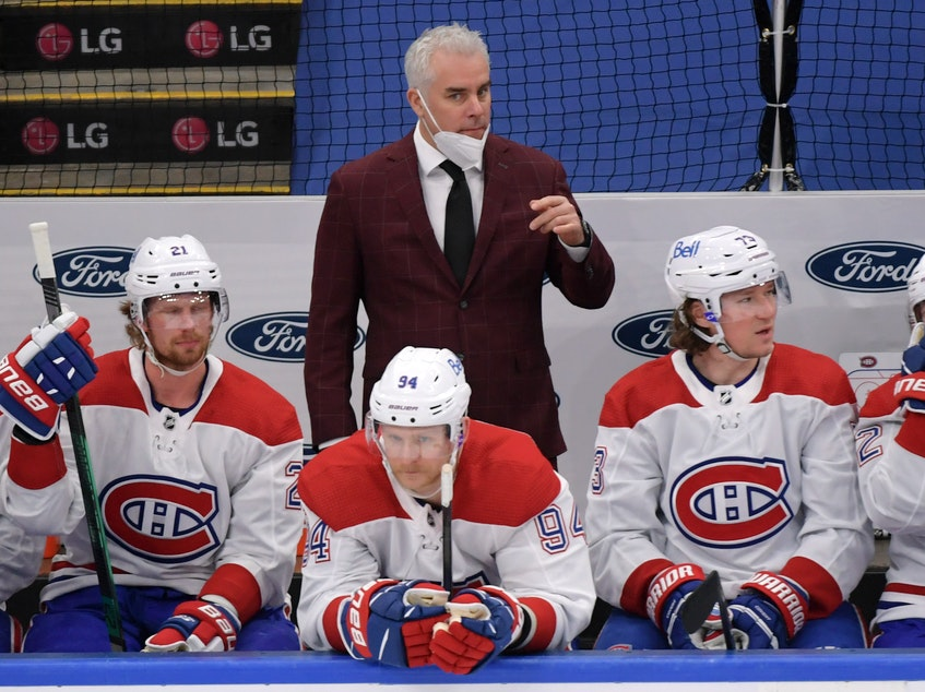 Montreal Canadiens head coach Dominique Ducharme watches the play against the Toronto Maple Leafs in Game 7 of the first round of the 2021 Stanley Cup Playoffs at Scotiabank Arena in Toronto on Monday. - Dan  Hamilton