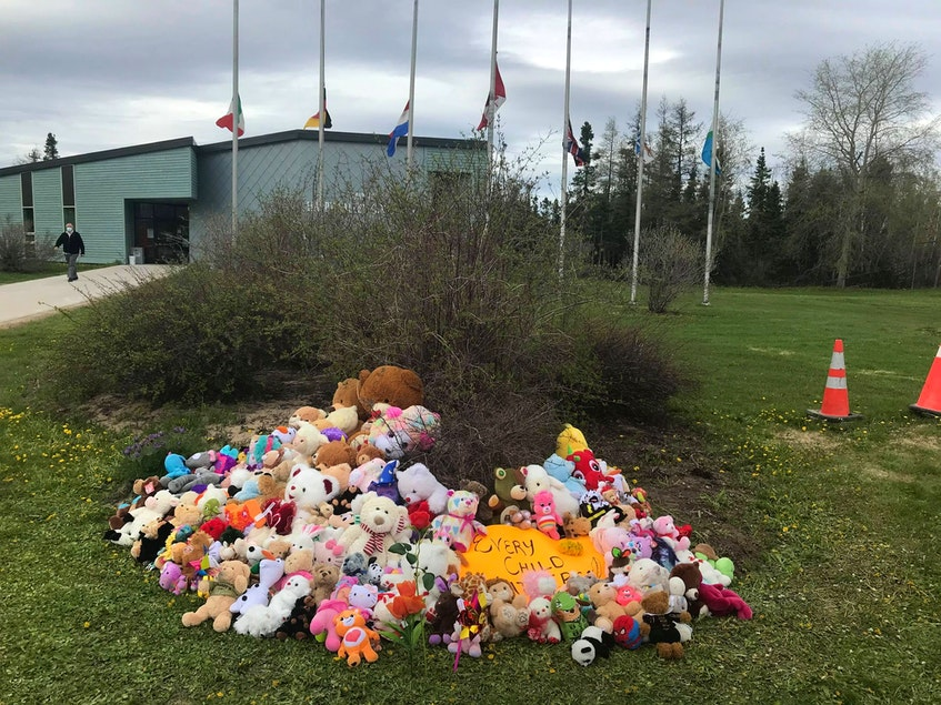 Dozens of people brought teddy bears to lay in front of Happy Valley-Goose Bay Town Hall on Monday to commemorate the 215 Indigenous children found in an unmarked mass grave at a former residential school in Kamloops, B.C. Photo by Jodie Ashini - Contributed