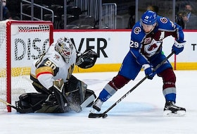 Colorado Avalanche centre Nathan MacKinnon had two goals, an assist and eight shots in Sunday's 7-1 win over Vegas. Heading into Monday, he was tied for the playoff points lead with Nikita Kucherov, who has played two more games.USA TODAY Sports