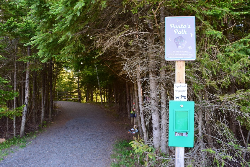A new sign at the entrance to the Farnham Brook Section of the Cobequid Trail off Village Court in memory of Paula MacDonald, who passed away from cancer on May 7. - Chelsey Gould