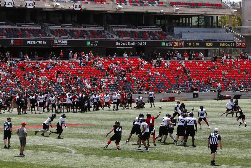 The Ottawa Redblacks scrimmage during the team's second annual Fan Fest at TD Place in Ottawa on Sunday, May 26, 2019.