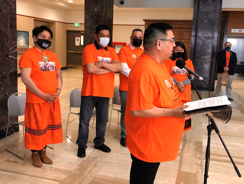 Members of the Innu Nation attended the announcement of commissioners for the Commission of Inquiry into the Treatment, Experiences and Outcomes of Innu in the Child Protection System wearing orange shirts honouring indigenous lives lost at Canadian residential schools and those who survived them. — Joe Gibbons/The Telegram