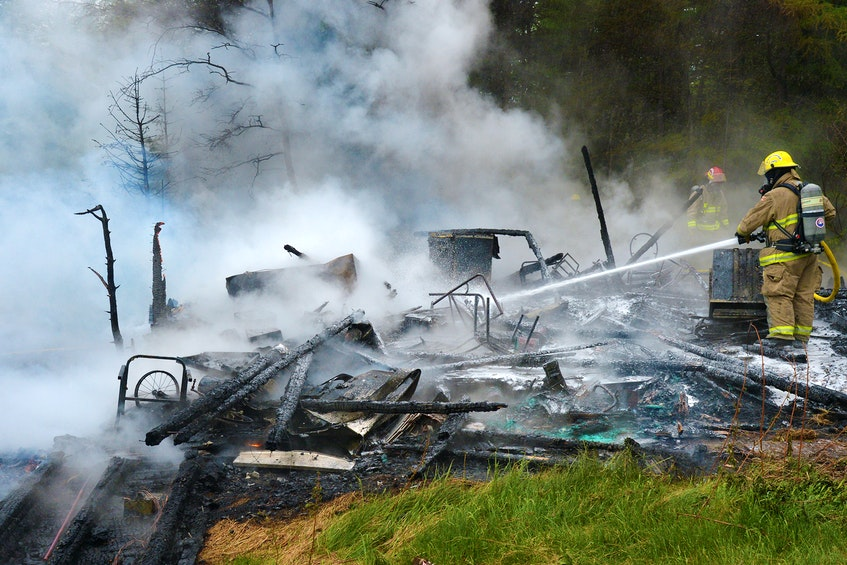 A cabin on the Southern Shore highway was destroyed by fire Thursday afternoon. Keith Gosse/The Telegram