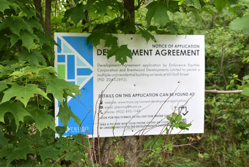 The Notice of Application signage at 60 Golf Street - a lot directly across from the TAAC Grounds Clubhouse.
