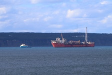 The Terra Nova floating production, storage and offloading vessel in Conception Bay with a supply ship. Telegram file photo