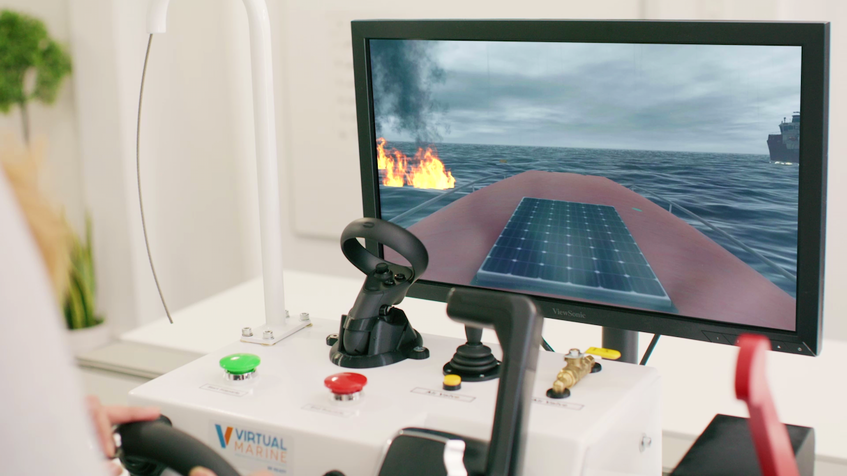 With joysticks and a computer screen, marine workers will be able to train from anywhere to upgrade their emergency response knowledge, thanks to an on-line learning program developed through a collaboration between Virtual Marine of St. John's and Survival Systems Training Ltd. of Halifax. — Contributed