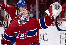 Canadiens goaltender Carey Price can't reach puck as defenceman Ben Chiarot heads to the back of the net during Game 4 against the Jets on Monday. Price will be in the spotlight against Vegas, Pat Hickey writes.