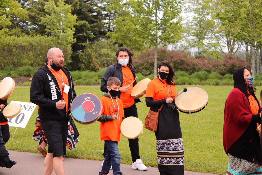 Drummers help lead a smudging ceremony at Thursday's vigil for residential school victims and survivors. - Logan MacLean