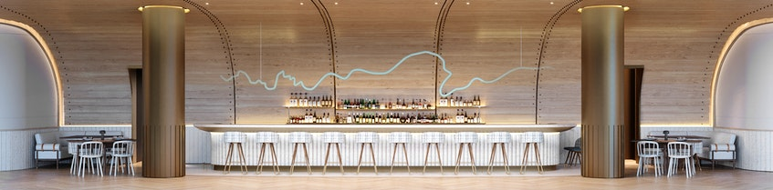 A rendering of Drift's Salon Bar at the Muir hotel in Queen's Marque in downtown Halifax. - Contributed
