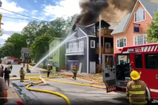 June 11, 2021 - Firefighters spray water on a blaze in the Chester Playhouse on Friday in this screen shot from video posted on Twitter by a user going by Hoob (@Hooberbloob).