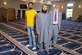 (Left to right) Mohammed Imran, Imam Wael Haridy and Syed Munawwar Hussain are part of a team organizing a community vigil in the parking lot of the Nova Scotia Islamic Community Center - Kearney Lake Masjid at 6 p.m. on Saturday. The vigil will be in memory of the members of the family killed in Sunday's targeted attack in London, Ontario.