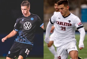 Midfielder Scott Firth of Halifax (left) and former Carleton University striker Stefan Karajovanovic have signed with the HFX Wanderers. - Contributed