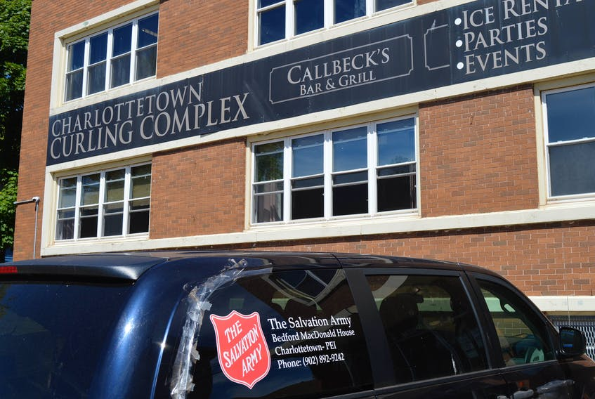 A Salvation Army van sits outside the former Charlottetown Curling Club on Friday, June 11. It is the new location for the Community Outreach Centre that opened on Friday. The Salvation Army is responsible for staffing the centre.