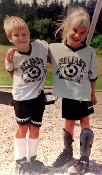 Jacob Simmons, left, and his sister, Janna, were both members of Belfast minor soccer in their childhood. Photo Special to The Guardian/Brenda Simmons - Contributed