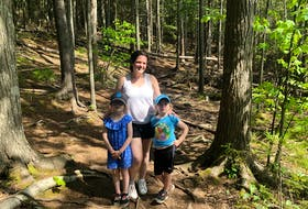 Heather Fegan and her daughters, Anna, left, and Rosie, recently enjoyed a hike at Sandy Lake in Bedford. It's a great hike for families, with plenty of options for hikers.