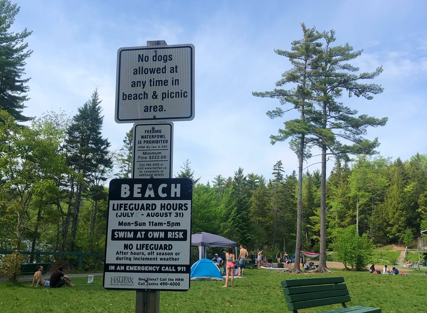 The beach has lifeguard supervision July through August. No dogs are permitted in the beach and picnic area at any time. There are also a volleyball court, picnic tables, and benches.  - Heather Fegan