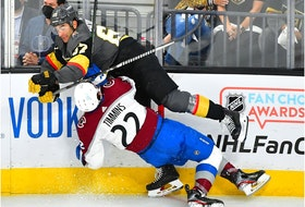 Vegas Golden Knights left wing Max Pacioretty checks Colorado Avalanche defenceman Conor Timmins during the second period of Game 4 at T-Mobile Arena in Las Vegas on June 6, 2021.
