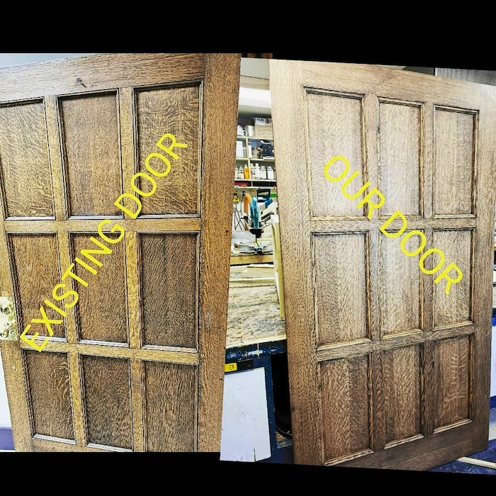 Brett Wagner built this door to match existing ones inside a historic building in Kentville. Without the labels, could you spot the difference? – Contributed