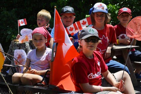 This file photo from 2016 shows participating in Burlington's Canada Day parade decked out in their most appropriate July 1 attire. - File