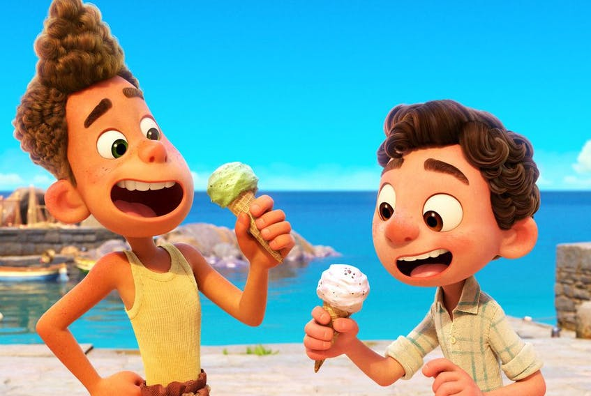 Alberto (voiced by Jack Dylan Grazer) and Luca (voiced by Jacob Tremblay) in a scene from Pixar's Luca. Courtesy, Walt Disney Studios Motion Pictures Canada.