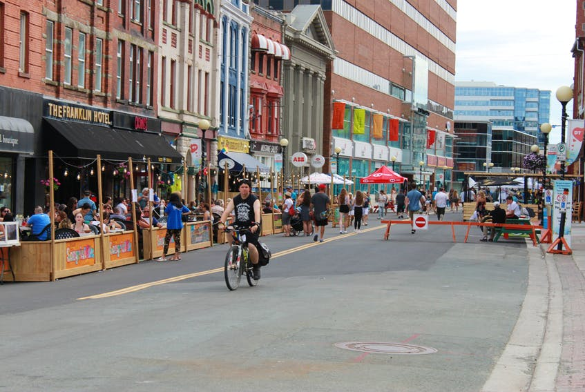 Last year, a total of 40 businesses, including 20 in last year's downtown Pedestrian Mall, applied to the City of St. John's for outdoor seating areas. This year, more than 80 businesses throughout the city have applied.