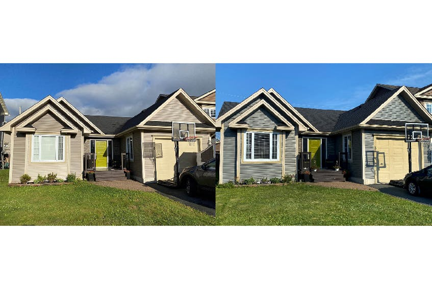 When the Smiths' house needed some of its siding repaired but the exact colour match wasn't available (left), they decided to paint their siding with Benjamin Moore's ben® Exterior in Amherst Gray HC-167 (right), giving it a fresh new look. - Photo Contributed.