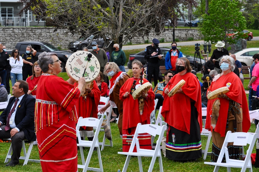 Indigenous women from around the area drummed and sang at the opening of the Mikwite'tm Garden outside the Qalipu First Nation offices in Corner Brook on Friday. — Diane Crocker/SaltWire Network
