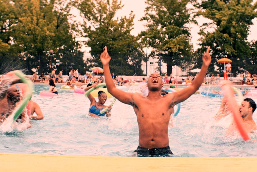 It's like a Busby Berkeley number with pool noodles! Corey Hawkins in In the Heights.