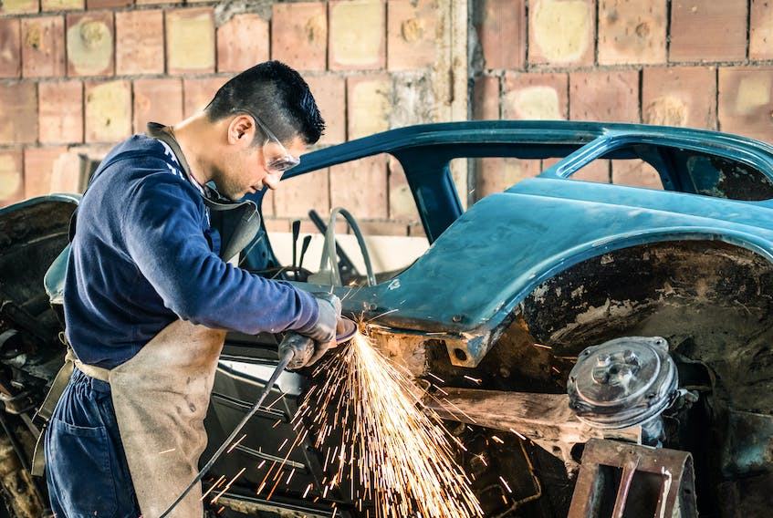 Eye injuries when working on a vehicle are scary and mostly preventable with proper protective gear. 123rf stock photo