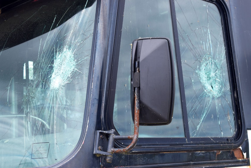 Some of the damage to the bus owned by the Cape Breton Drag Racing Association, at their race track off Grand Lake Road. The glass in several windows and the door were smashed by vandals. Sharon Montgomery-Dupe/Cape Breton Post - Sharon Montgomery